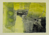 Green Wall, 18 x 23 inches, framed mixed media monotype
