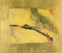 Branch with Bird, 12 x 14 inches, mixed media monotype with gold leaf mounted on panel SOLD