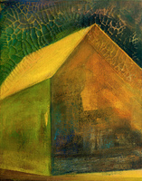 Barn Interior, 20 by 16 inches, acrylic and gold leaf on canvas, SOLD