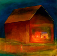 Two Barns with Cerise, 30 x 30 inches	acrylic, mixed media