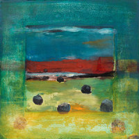 Middle Road Pond with Hay Bales, 16 x 16 inches, mixed media monotype  SOLD