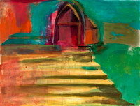 Temple Stairs, 18 by 24 inches, mixed media layered monotype
