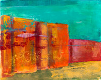 Temple Wall, 17 by 21 inches, framed mixed media monotype