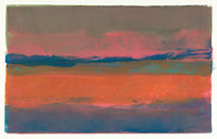 Sunset #1, 10 x 16 inches, mixed media monotype