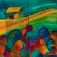 Sanctuary, 2 panels, 24 x 48, acrylic on canvas SOLD